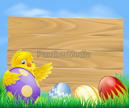 easter chicken and chocolate painted eggs