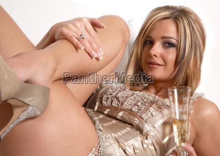 pretty woman drinking champagne