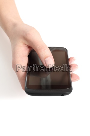 woman hand touching a touch screen