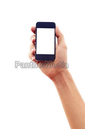 isoliert hand haelt smartphone oder handy
