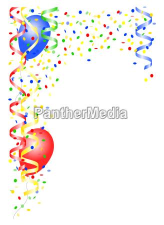 luftschlangen und luftballons als hintergrund