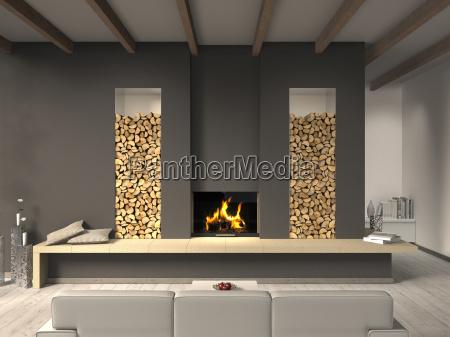 Wohnzimmer mit Kamin und Balkendecke - Lizenzfreies Foto - #8902544 ...