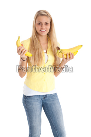 young woman with stadue bananas