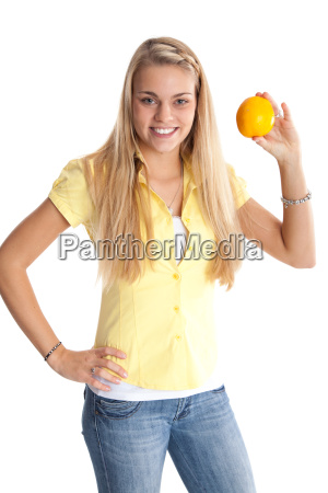 young woman shows off orange
