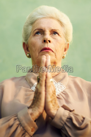 portrait of serious old caucasian woman