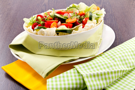 colorful mixed salad with mixed vegetables