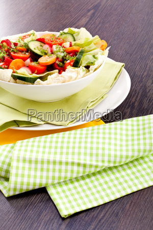 colourful mixed salad with mixed vegetables