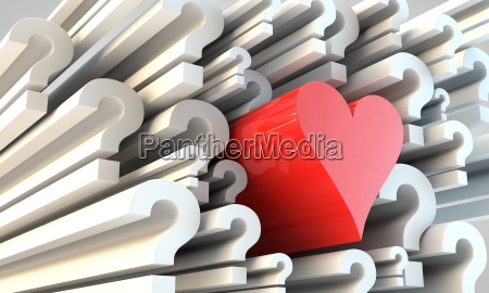 symbol of heart amongst question marks