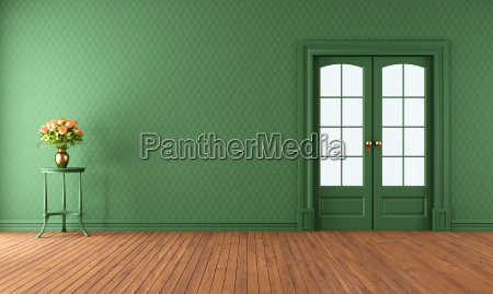 empty green living room with sliding