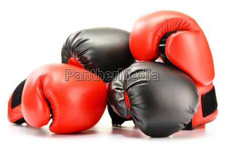 two pairs of leather boxing gloves