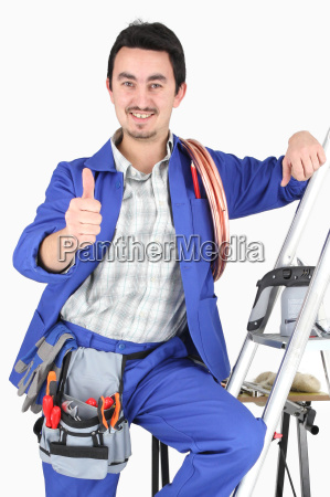 plumber with all his equipment making