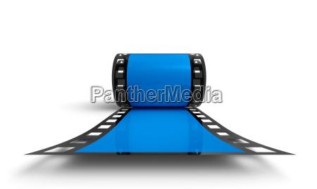 3d filmrolle blau frontal ansicht