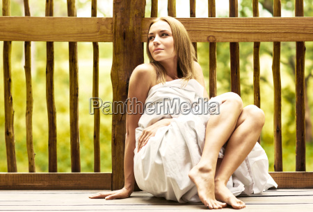 young woman enjoying spa hotel resort