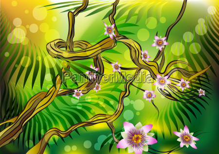 baum blume pflanze sonnenaufgang dschungel illustration