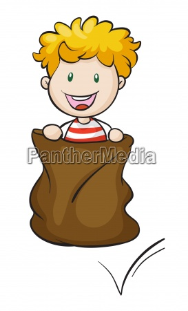 a boy and burlap