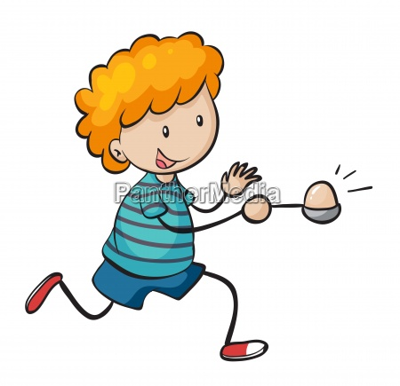 boy running in egg and spoon