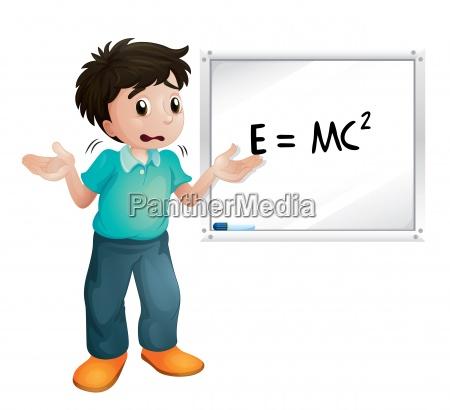boy showing white board