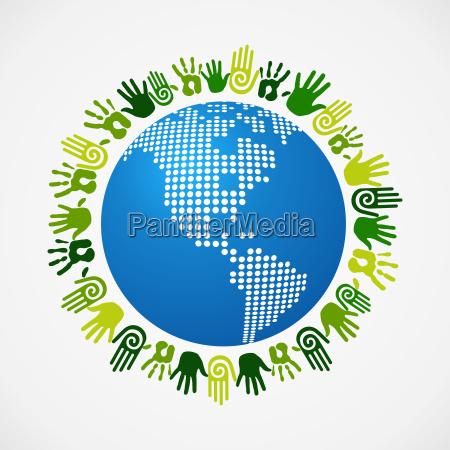 go green diversity human hand american