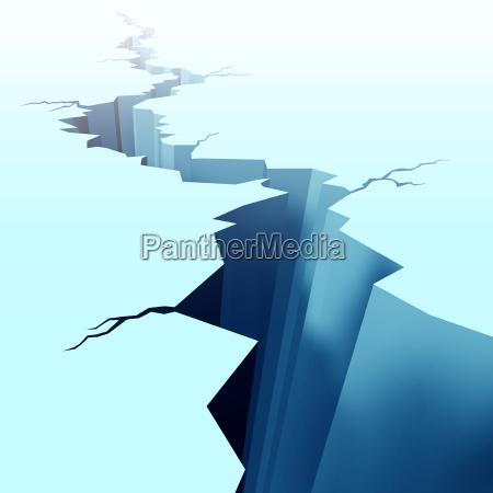 cracked ice on frozen floor