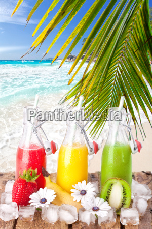 delicious fruit cocktails on the beach
