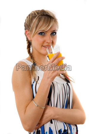 young lady drinks milk