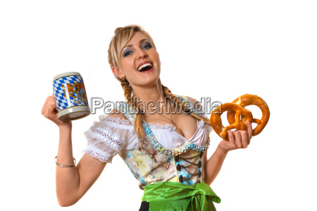 young lady with beer and pretzel