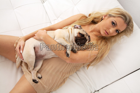 young woman with pug
