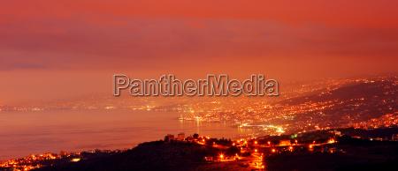 mountain city at night