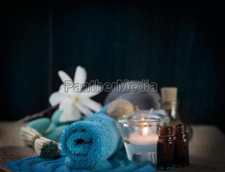 spa setting with bath salt