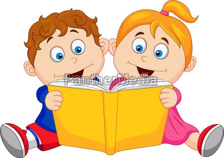 children cartoon reading a book