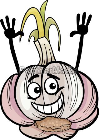 funny garlic vegetable cartoon illustration
