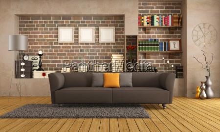 modern sofa in einem vintage wohnzimmer