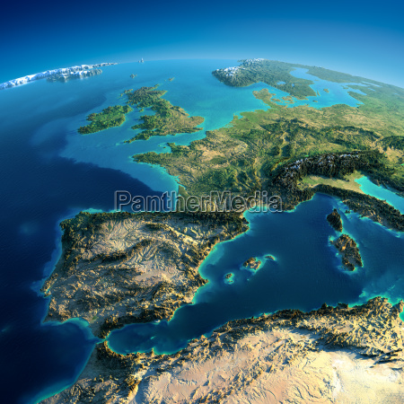 detailed earth spain and the mediterranean