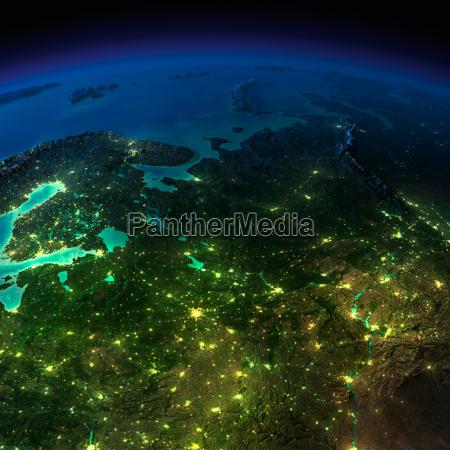 nacht erde der europaeische teil russlands