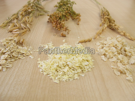 oatmeal millet flakes and rice flakes