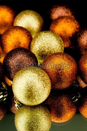 christmas decoration balls shining in orange
