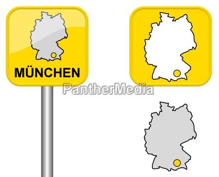 ortsschild deutschlandkarte und button von muenchen