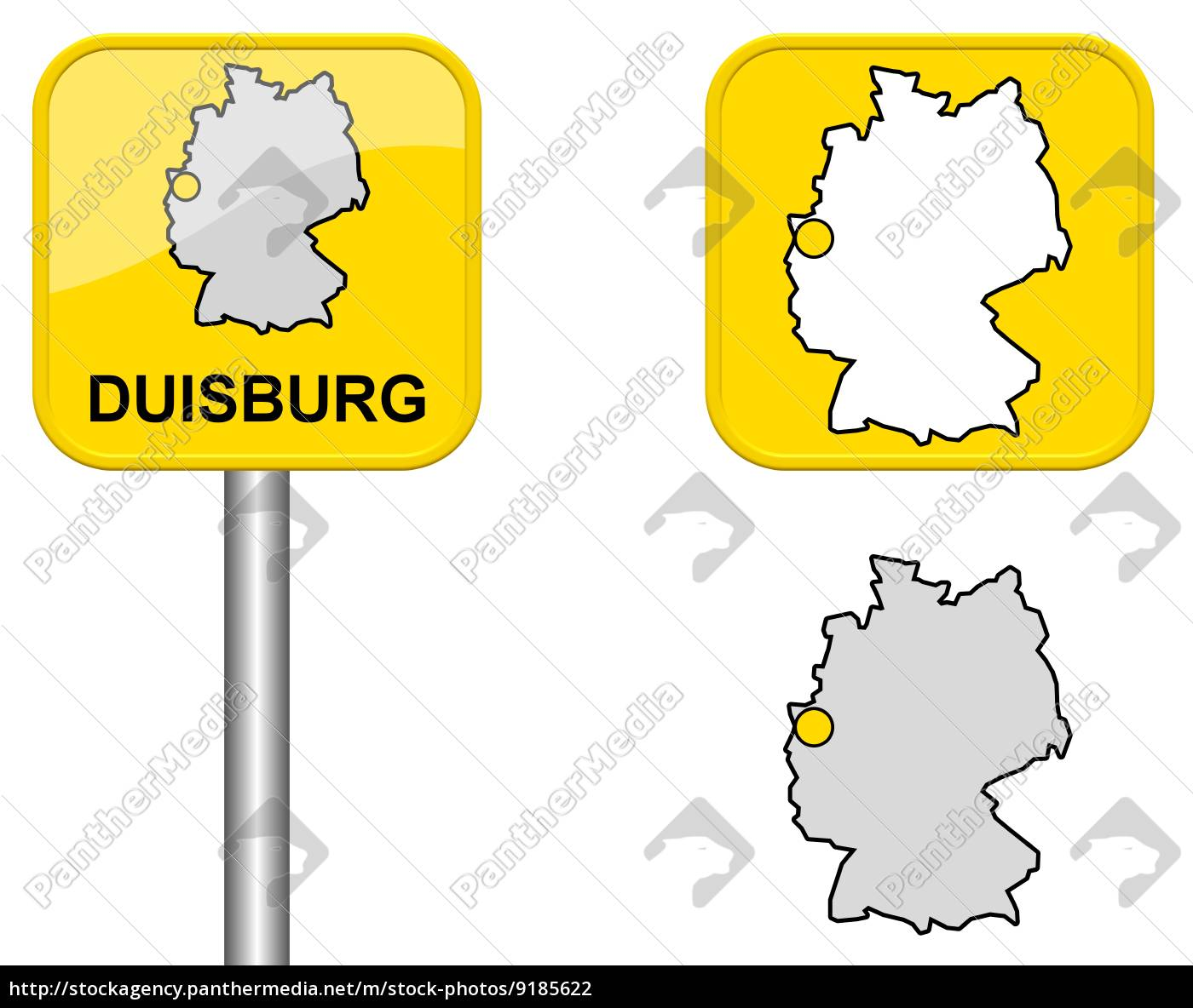 Ortsschild Deutschlandkarte Und Button Von Duisburg Stockfoto