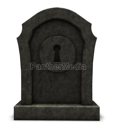 keyhole on grave stone