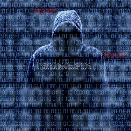 silhouette eines hackers auf schwarzem isloated