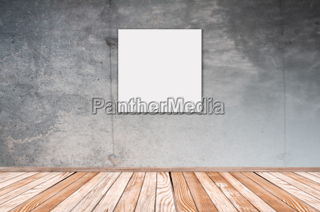 betonwand mit bild quadrat