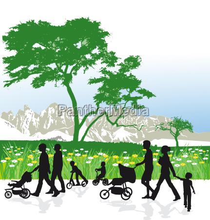 familien in berglandschaft