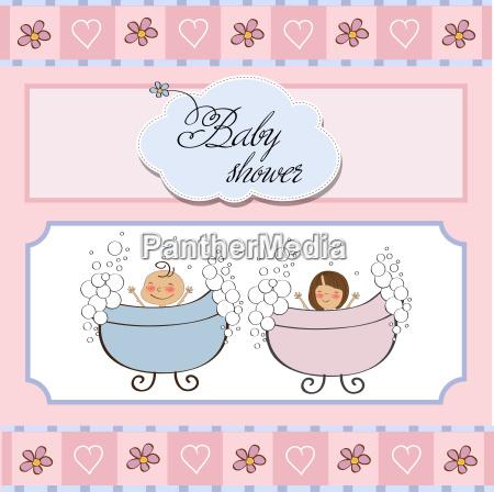 baby zwillinge dusche karte