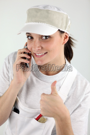 decorator with a cellphone