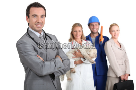 four adults representing different career options
