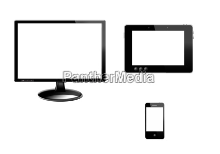 tablet monitir and modern mobile phone
