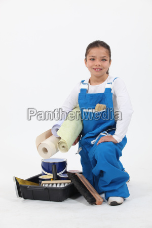 girl wearing overalls
