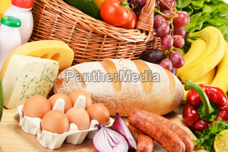 assorted grocery products including vegetables fruits