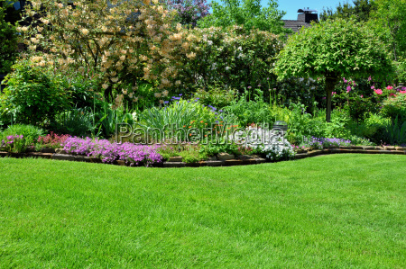 lawn with garden background
