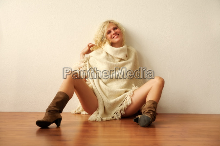 blonde young woman in boots